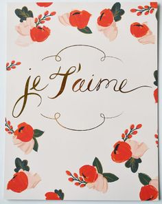 Je T'aime Floral Gold Foil 8 1/2 x 11 by firstsnowfall on Etsy, $35.00
