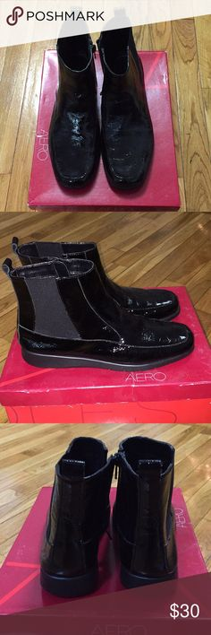 Brand New in Box! Aerosoles Port Wine style bootie Brand new in box! Aerosoles Port Wine style bootie in black patent leather. Women's size 7 regular width. AEROSOLES Shoes Ankle Boots & Booties