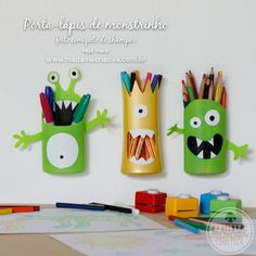 Pencil holders made from shampoo bottles! Great playroom addition and way to promote creativity!