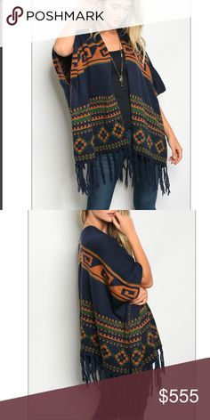 """Navy Green fringe trim poncho cardigan Beautiful tribal print navy green and rust poncho fringe trim sweater. 100% cotton. Small measurements are: length-28"""" bust-70"""" width-70"""". Style En Rose' Sweaters Shrugs & Ponchos"""