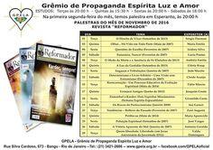 Calendário de Palestras Públicas do mês de Novembro do GPELA - Bangu - RJ - http://www.agendaespiritabrasil.com.br/2016/11/02/calendario-de-palestras-publicas-do-mes-de-novembro-do-gpela-bangu-rj/