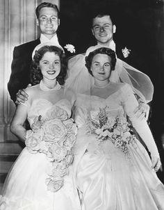 John Agar, Shirley Temple, John Rockwell Wheeler and Joyce Agar, 1949.