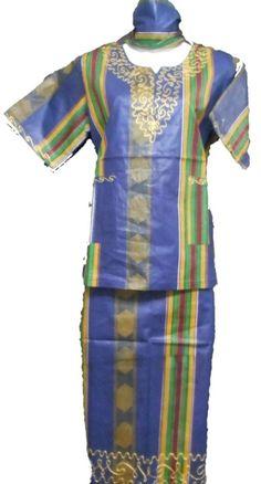 African Kids Kent Outfit Girl Skirt Suit Blue Green M Fit upto 38 034 arou African Dashiki Shirt, African Blouses, African Shirts, African Dress, Kids Outfits Girls, Girl Outfits, Fashion Outfits, African Children, African Men