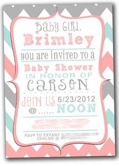 chevron baby shower  invitation. $15.00, via Etsy.