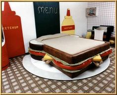 Sandwich hotel bed