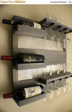 Rustic Weathered Grey Stained Wall Mounted Wine Rack with Shelves and Decorative Chrome Mesh, Wine and Liquor Shelf