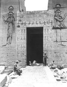 The temple of Isis. The central gate in the southern (outer) face of the second…