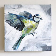 Bluetit // Original Animal Bird Painting // wall by cathpillingart, £140.00