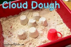 This is cool :)  Cloud Dough - (the stuff at hands on museums) 8 cups flour & 1 cup baby oil. It feels like flour as you run your fingers through it, but it's mold-able. So cool