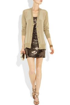 MICHAEL Michael Kors- Sequined stretch jersey tank dress, on, with a MICHAEL Michael Kors cardigan, Jimmy Choo shoes, and an Anya Hundmarch clutch