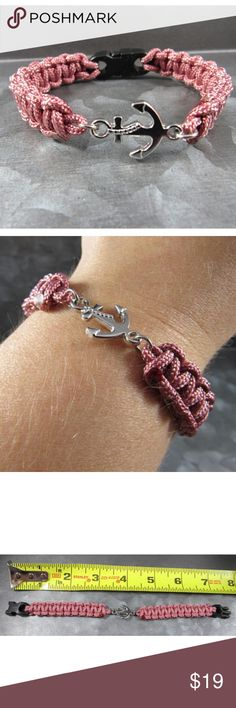 Handmade anchor braided bracelet paracord charm Handmade! Made with paracord 95 lb strength with anchor charm decoration. A rusty pink color. Dusty rose. Jewelry Bracelets