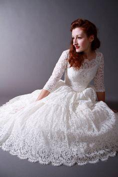 Vintage 1950s Tea Length New Look Wedding Dress of Chantilly Lace. $450.00, via Etsy.