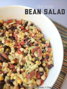This really is the best Bean Salad ever! Easy ingredients, fresh vegetables, and honey mustard salad dressing combine to make the creamiest bean salad ever. Whole Food Recipes, Diet Recipes, Vegetarian Recipes, Cooking Recipes, Healthy Recipes, Healthy Habits, Cooking Ideas, Healthy Meals, Yummy Recipes