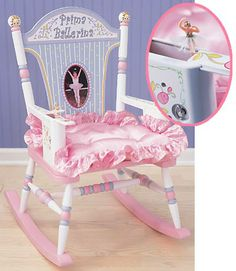 """Prima Ballerina Rocker by Levels of Discovery Charming ballet theme with delicate pinks and blues. Beautiful floral design backrest with """"Prima Ballerina"""" Bedroom Themes, Bedroom Decor, Bedroom Ideas, Bedrooms, Toddler Rocking Chair, Rocking Chairs, Baby Glider, Glider Chair, Ballerina Bedroom"""