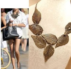 Vintage Retro Bronze Multilayer Leaves Pendant