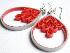 Pretty Handmade Dangle Earrings / Unique Fashion Jewelry / Red Gray Filigree Earrings / Paper Jewelry