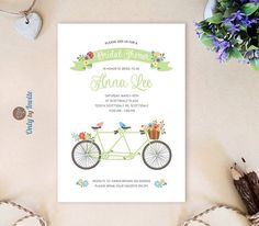Bicycle theme bridal shower party planning pinterest bridal mint green tandem bicycle bridal shower by onlybyinvite on etsy filmwisefo Choice Image