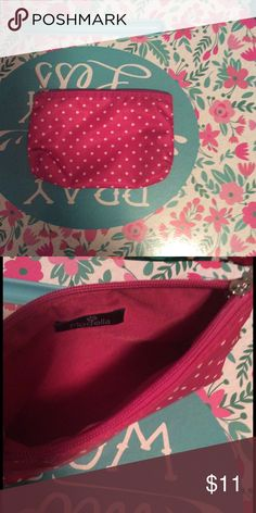 Modella Polka Dot Cosmetic Bag Pink and white polka dot mid size cosmetic bag. (Never used) Modella Bags Cosmetic Bags & Cases