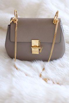 New In: Chloe Drew Bag in Grey - Size Small - Colour: Motty Grey - Leather - Gold Chain Hardwear - Blogger Style - Designer Handbag