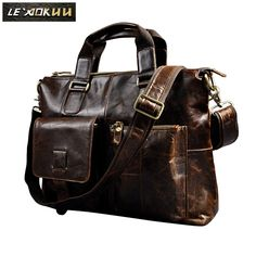 "Men Genuine Leather Office Maletas Business Briefcase 15.6"" Laptop Case Attache Portfolio Bag Maletin Messenger Bag B260 Price: 57.12 & FREE Shipping #hashtag2 Business Briefcase, Laptop Briefcase, Leather Briefcase, Leather Bags, Business Laptop, Soft Leather, Luggage Bags, Satchel, Shoulder Bag"