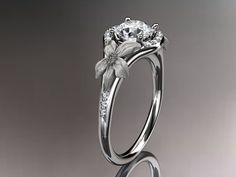 platinum  diamond leaf and vine wedding by anjaysdesigns on Etsy, $1895.00