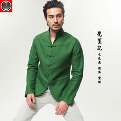 The tang dynasty era. The tang dynasty style dark green man's coat Restaurant Uniforms, Asian Clothes, Cool Style, My Style, Ancient China, Green Man, Cheongsam, Chinese Style, Kung Fu