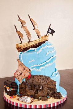I dare you to bake a cake like this pirate ship birthday cake