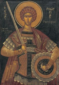 Ο Άγιος Γεώργιος *-Φώτης Κόντογλου (1895-1965) Byzantine Icons, Byzantine Art, Archangel Raphael, Raphael Angel, Greek Paintings, Albrecht Durer, Orthodox Icons, I Icon, Angel Art
