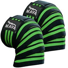 "Mava Sports Knee Wraps (Pair) for Cross Training WODs, Gym Workout, Weightlifting, Fitness & Powerlifting - Best Knee Straps for Squats - For Men & Women- 72""-Compression & Elastic Support (Gray) : Sports & Outdoors"