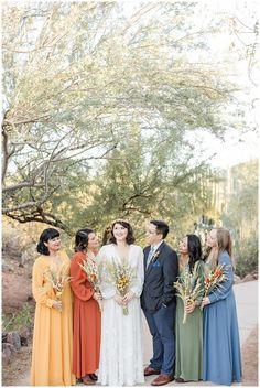 Bethany and Trevor's Desert Botanical Gardens wedding was nothing short of a boho desert dreamland. Spring Bridesmaid Dresses, Mismatched Bridesmaid Dresses, Boho Bridesmaids, Wedding Dresses, Elope Wedding, Boho Wedding, Elopement Wedding, Spring Wedding, Garden Wedding