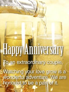 Send Free To an Extraordinary Couple - Happy Anniversary Card to Loved Ones on Birthday & Greeting Cards by Davia. Anniversary Quotes For Couple, Happy Anniversary Wedding, Anniversary Wishes For Parents, Anniversary Wishes For Friends, Aniversary Wishes, Anniversary Message, Anniversary Greetings, Marriage Anniversary, Birthday Greeting Cards