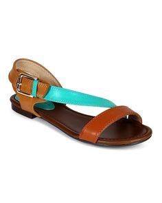 Breckelles CC90 Women Leatherette Multi Color Slant Strap Open Toe Flat Sandal - Aqua * Visit the image link more details.
