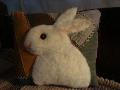 Primitive Antique Quilt Rabbit Pillow