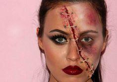 halloween gesichter schminken wunden make up anleitung naht garn