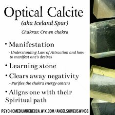 Optical Calcite (Iceland Spur) crystal meaning - Pinned by The Mystic's Emporium on Etsy