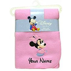 Personalized Disney Baby Minnie Mouse Pink Fleece Blanket Blanky - 36 Inches x 30 Inches Minnie Mouse Blanket, Minnie Mouse Nursery, Minnie Mouse Pink, Baby Mickey, Baby Swaddle Blankets, Receiving Blankets, Boy Nursery Bedding, Baby Security Blanket, Diy Blanket Ladder