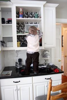 Inside Kitchen Cupboards contact paper on inside of cabinet door.   for the home