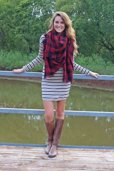 Ribbed long sleeve striped dress-more colors