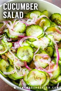 Cucumber Salad! Sweetly tart cucumber salad is the perfect to-go side dish with its crisp cucumbers, vibrant red onion, and fresh dill. Just mix and serve, no cooking needed! | HomemadeHooplah.com