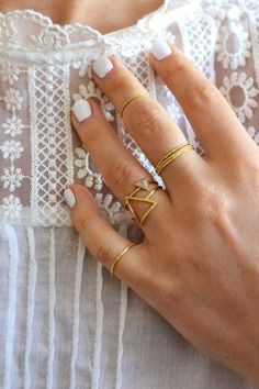 Get this look with our: Trilateral Triangle Ring / Golden Stacking Rings / Thin Knuckle Rings / Gold Midi Rings / Linked Finger Cuff / Gold. Gold Nails, White Nails, White Manicure, White Polish, Oval Nails, Shellac Nails, Diy Nails, Boho Hippie, Hippie Style
