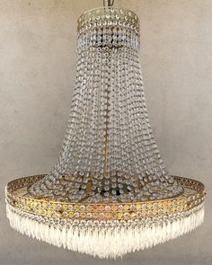 4cf2386a89e French Empire Crystal Brass Chandelier