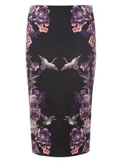 Purple printed bodycon skirt