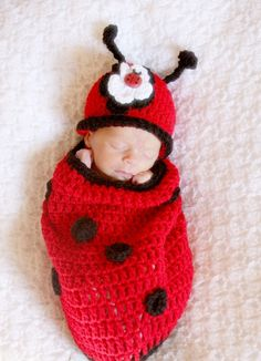 Adorable Lady Bug Baby Cocoon and Hat with Flower Clip & Super Cute Lady Bug Button Accent.