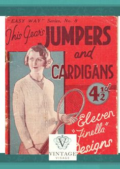 1930s Ladies jumpers and cardigans- 11 elegant knitting patterns, pdf instant download