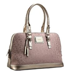 Calvin Klein Logo Jacquard Print Dome Satchel (Champagne) from The Fashions  Place 7c96d9919aee6
