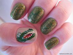 Alligator head #nail art #polish