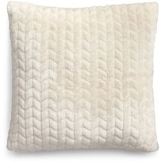 "Martha Stewart Collection Quilted Faux-Fur 20"" Square Decorative... ($60) ❤ liked on Polyvore featuring home, home decor, throw pillows, ivory, modern home decor, quilted throw pillows, faux fur throw pillows, modern home accessories and martha stewart throw pillows"