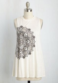 Posh Power Top in Ivory - Casual, Boho, Sleeveless, Knit, Good, Exclusives, Variation, Crew, Mid-length, Cream, Black, Print