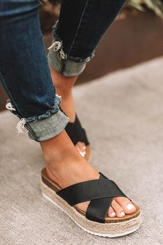 """Slide into summer in style with our black""""Emmy Espadrille"""" featuring lifted soles with braided texturing, wide criss-crossed over-the-foot straps, and a slip on, open toe silhouette! These espadrilles run more true to size. Espadrilles, Cute Shoes, Me Too Shoes, Wedge Shoes, Shoes Sandals, Flat Shoes, Oxford Shoes, Shoes Sneakers, Heeled Sandals"""