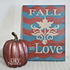 Fall chevron DIY - Fall in Love plaque using FrogTape chevron Shape Tape.